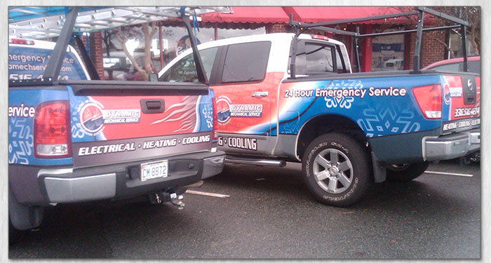 dynamic mechanical service truch and vehicle wrap